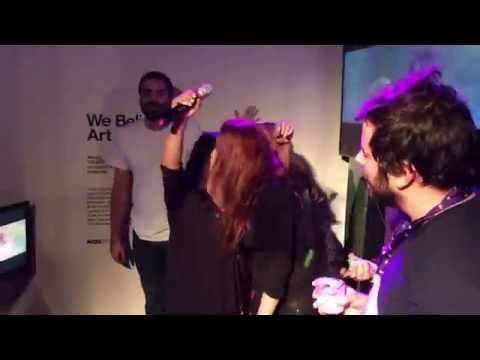 Elijah Wood singing at Sundance 2016 in the Kickstarter Greenroom