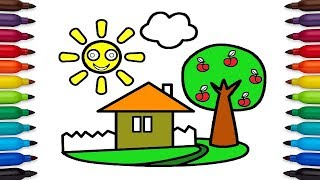 Teach Drawing for Kids | Draw a House With Apple Trees, Learn Colors for Children.
