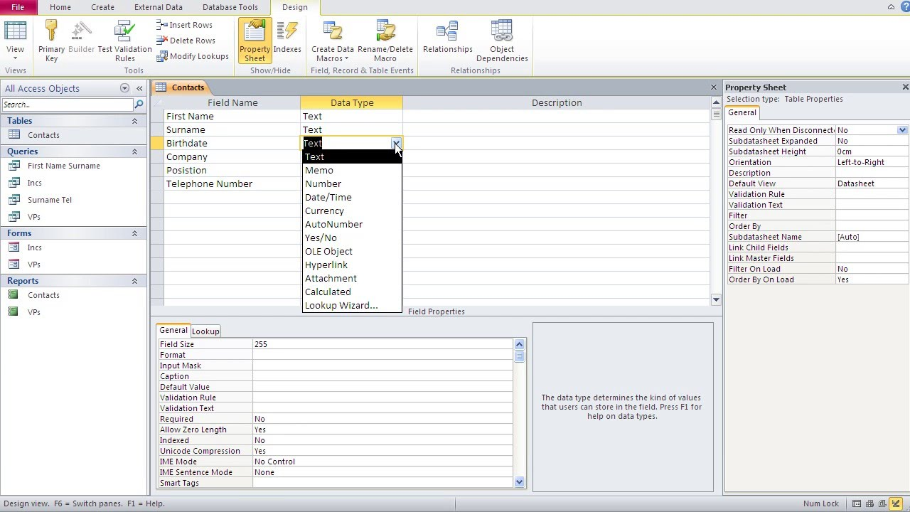 Databases with Microsoft Access 3 –Tables: Date Time Field Types & Custom  Date Formats