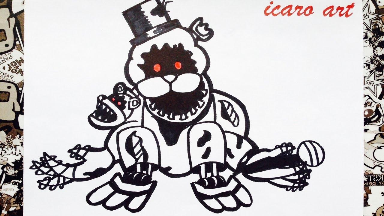 Como Dibujar A Golden Freddy Nightmare How To Draw Golden Freddy Five Nights At Freddys