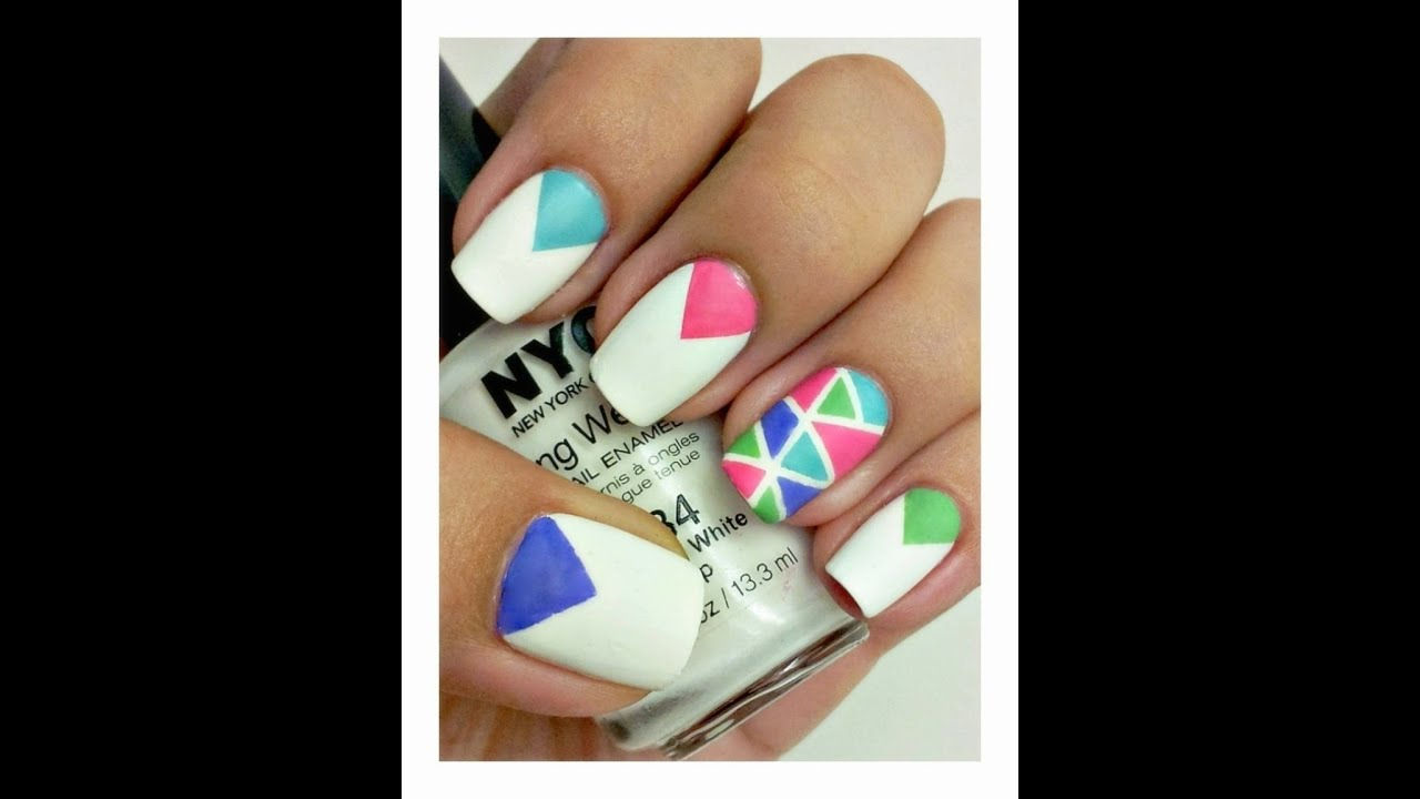 Matte Mosaic Nail Art (Tutorial using nail striping tape) - YouTube