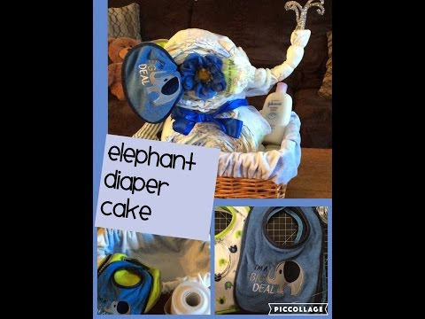 Elephant Diaper Cake Animal Theme Baby Shower Cake By Crafty Conjuring Baskets