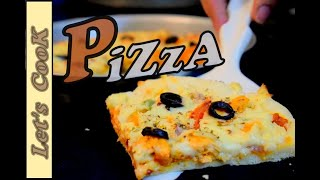 How to Make CHICKEN PIZZA Without OVEN Tandoori Home Made EASY PIZZA RECIPE BY LET