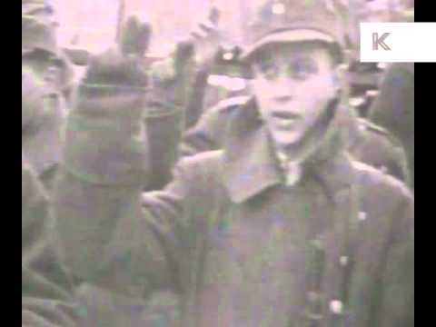 1945 German Refugees Leave East Prussia for the West and Young Soldiers