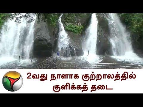 2வது நாளாக குற்றாலத்தில் குளிக்கத் தடை | Water level increased in Courtallam
