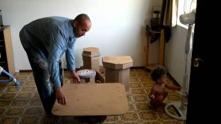 Cardboard table diy stool and funny children