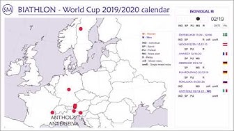 Biathlon World Cup 2019/2020 calendar