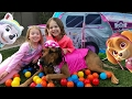 Paw Patrol Family Fun in Tent   Helps Children Learn Colors Trampoline Dog   Colour Bounce Ball Pit