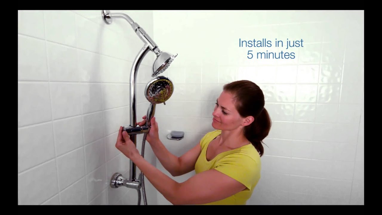 install your simplyclean slide bar combination shower in less than 5 minutes youtube. Black Bedroom Furniture Sets. Home Design Ideas