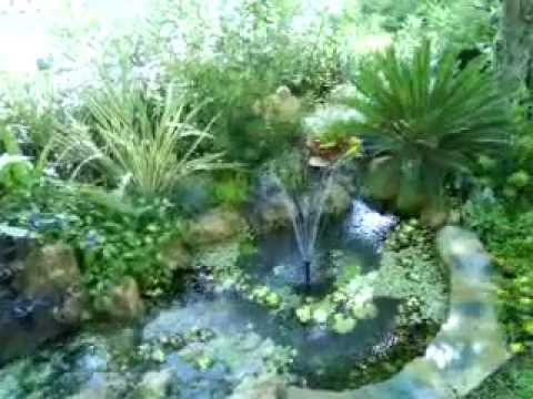 Peque o estanque con cascada de piedra myd jardines youtube for Aireadores para estanques piscicolas