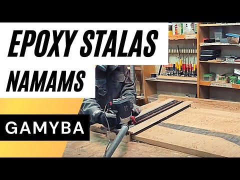 Pasigaminau tikrą stalą! Ąžuolas + Epoxy + Metalas