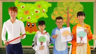 SuperHero Kids Go To School Learn color with Orange Tree Song For Kids