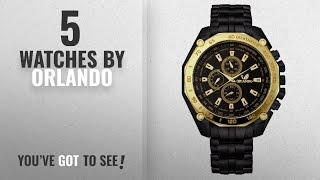 Top 10 Orlando Watches [2018]: Orlando Chronograph Look Analogue Black Dial Mens Metal Watch -