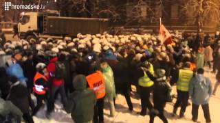 Push and Shove During Ukraine's EuroMaidan. December 9, 2013. Kyiv, Ukraine