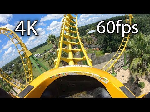 Boomerang front seat on-ride 4K POV @60fps Wild Adventures