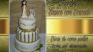 Como pintar bolos com pó dourado- Dicas como  usar pó dourado em bolos decorados pasta americana