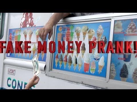 FAKE MONEY ICE CREAM TRUCK PRANK!!