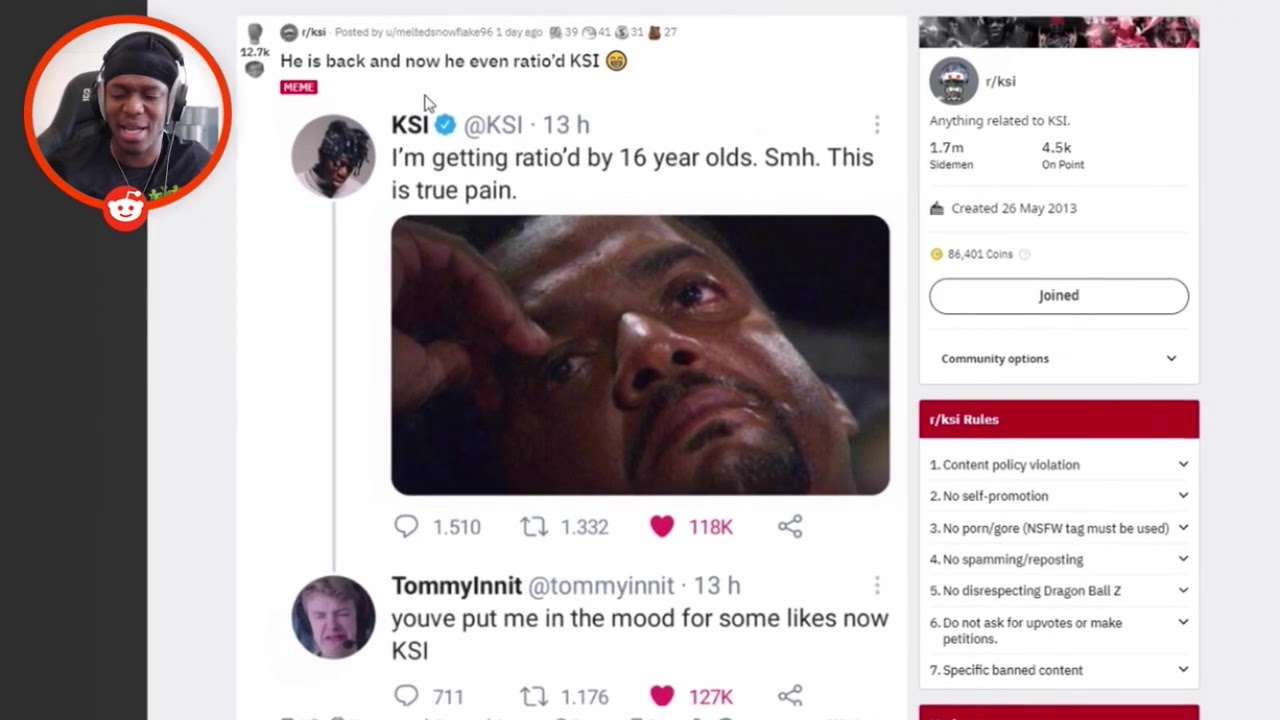 Download KSI reacts to getting ratio'd by TommyInnit