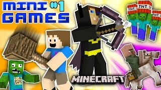 MINECRAFT BATMAN vs. FGTEEV CHASE MINI-GAMES #1 (Duddys Fun Challenge Map / World Gameplay)