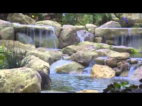 Tropical Garden Ponds And Waterfalls