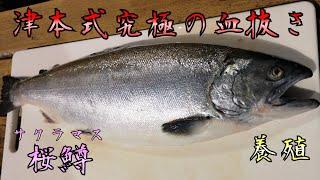 今回は、今しか食べることの出来ないサクラマスの血抜きをしました。この個体は、新潟県、佐渡の養殖なのですが、養殖でもこの時期しか水揚...