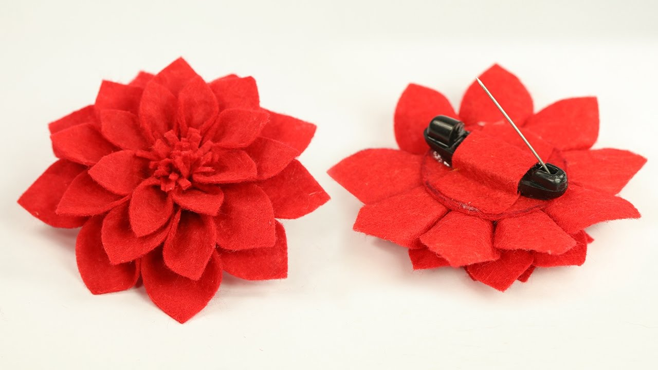 Diy crafts felt flower brooch pin step by step tutorial youtube diy crafts felt flower brooch pin step by step tutorial mightylinksfo