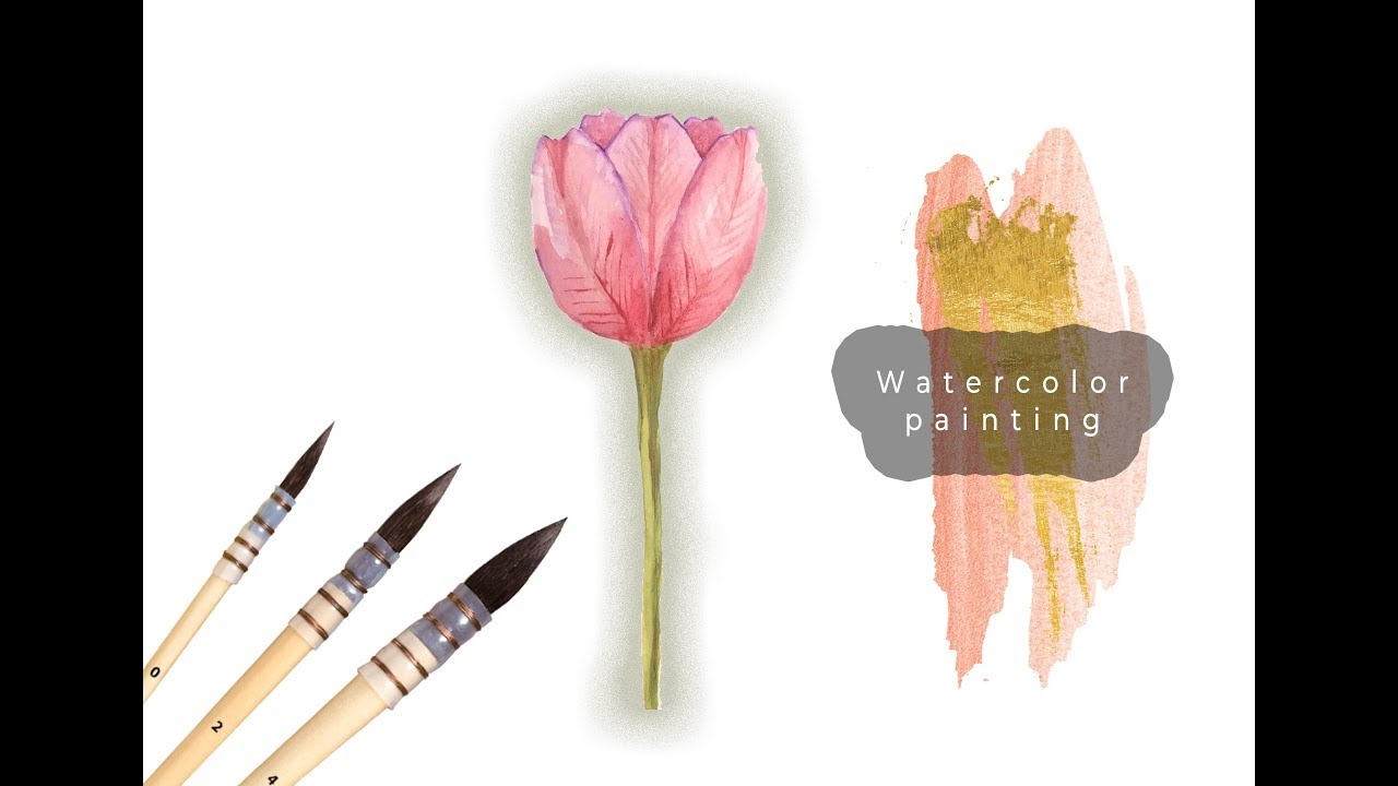 Sulu Boya Ile Lale Boyama Watercolor Tulip Painting Tutorial Youtube