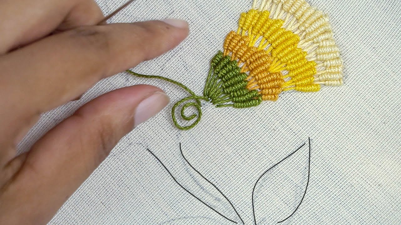 SIMPLE HAND EMBROIDERY Flower Design for Beginners by HandiWorks