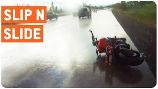 Motorcyclist Crashes and Slides 100 Yards On Highway