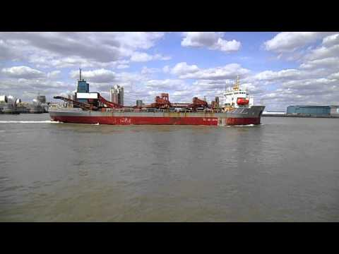 City of Westminster Dredger at the Thames Barrier