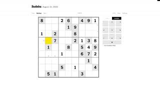 New York Times Medium Sudoku 15/08/2020