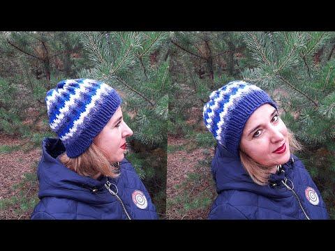 Женская шапочка жаккардом спицами