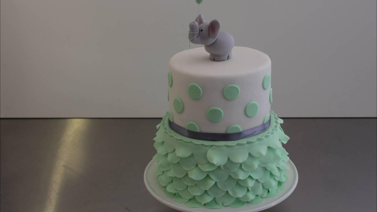 Cute Easy Babyshower Cake With Fondant Ruffles Gumpaste Elefant