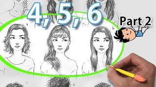 How to Draw Female Hair - 9 Hairstyles (step by step part 2)