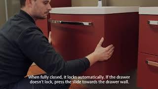 Odstranjevanje, vstavljanje in prilagajanje predalov na kopalniškem pohištvu Kolpa san