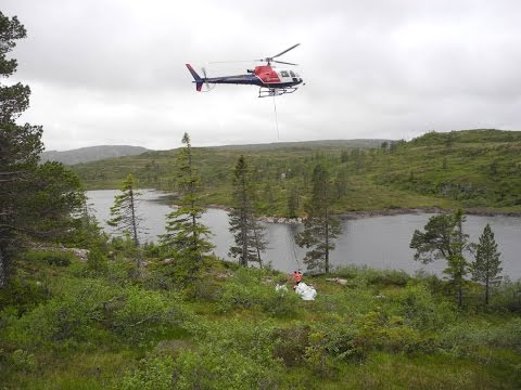 Thulit Mining in Norway - Heli transport of the gemstones!