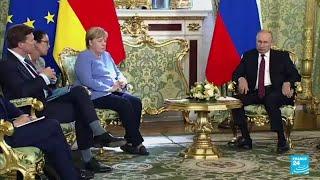 La canciller alemana Angela Merkel y el presidente ruso Vladimir Putin se reunieron en Moscú