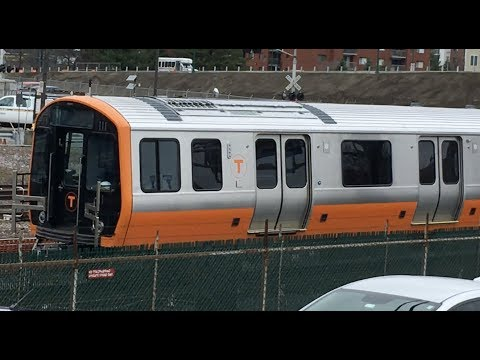 New Orange Line train cars at Wellington