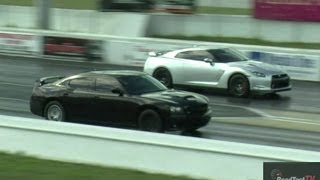 tuned nissan gt r vs supercharged charger srt 8 w 6 4 liter hemi drag race video road test tv