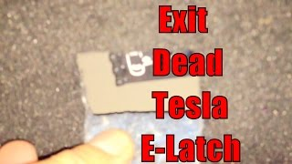 Tesla Motors Model S -- Dead 12v Battery -- How to Exit Rear and Front Doors using Mechanical Lever