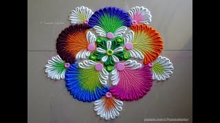 Very easy and attractive multicolored flower rangoli | Easy rangoli designs by Poonam Borkar