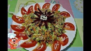 Рецепт салата на праздничный стол с ветчиной, огурцом, сыром