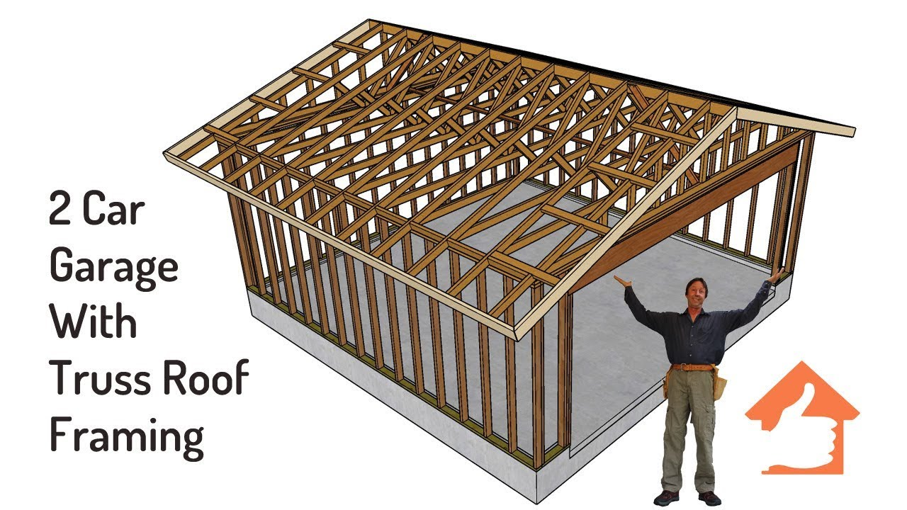 Example of gable roof truss framing for two car garage