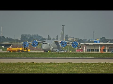 Very Rare! Antonov An-70 Taking Off from Leipzig/Halle Airport (Germany)