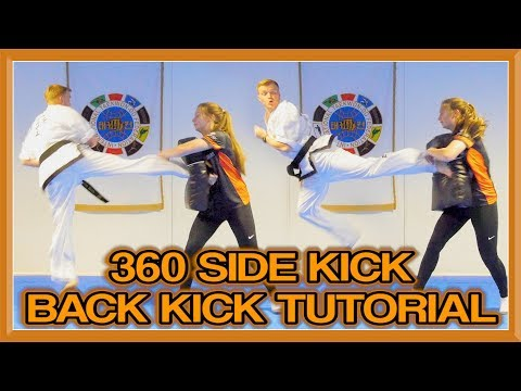 Taekwondo 360 Side Kick Back Kick Tutorial (360 Double) | GNT How to