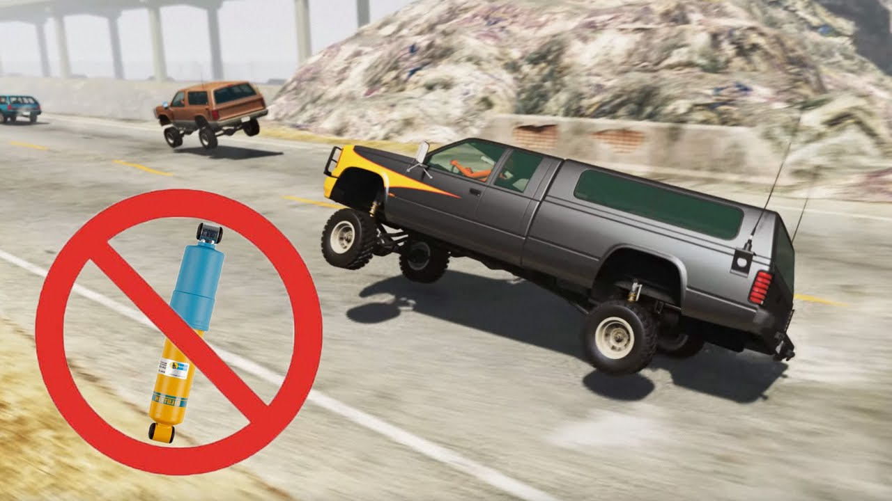 BeamNG Drive - Cars Racing With Jelly Suspension (No Damping)
