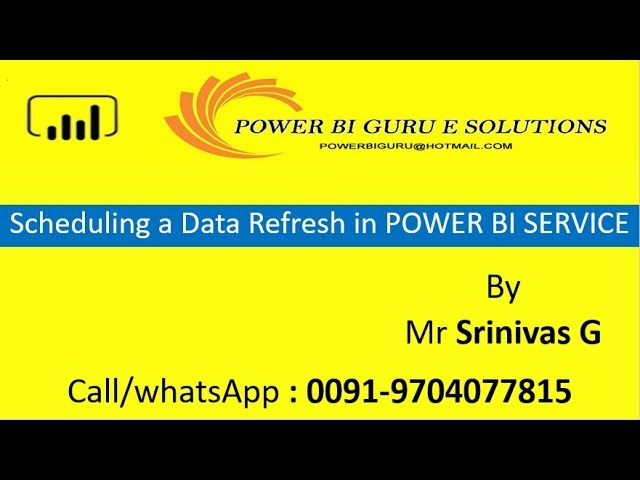 Scheduling a Data refresh in Power BI|Power Bi training from Power Bi Guru|Power Bi for beginners