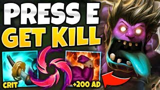 WTF?! FULL CRIT MUNDO KILLS YOU IN 1 SECOND! (E GIVES +200 AD) - League of Legends