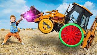 Трактор сломался, отвалилось колесо Лёва пришёл на помощь папе. Сборник для детей.