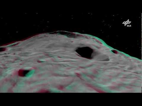 Asteroid Vesta zum Greifen nahe in 3D - seemingly close enough to touch